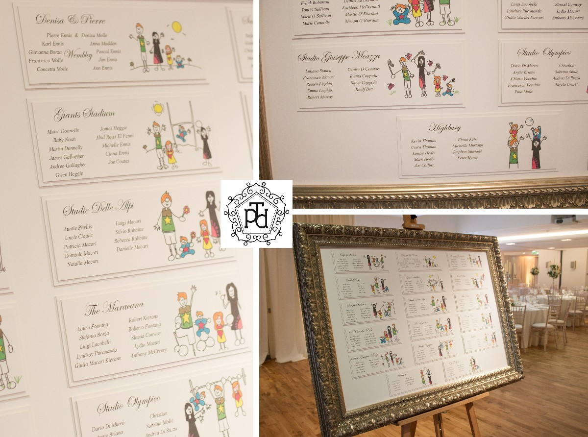 Family Cartoon Wedding Table Plan @ The Morrison