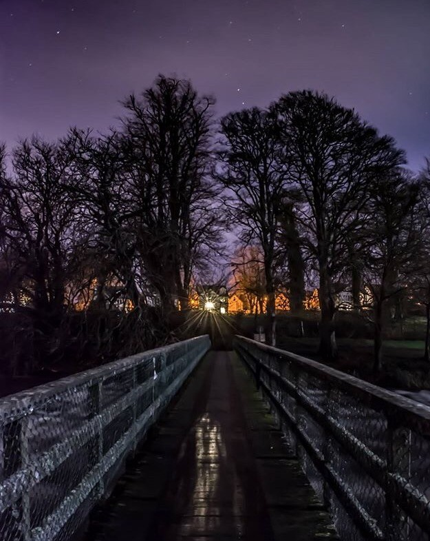 Romantic photo of the footbridge over the mighty Shannon at Dusk