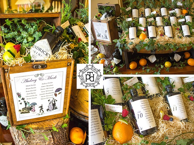 Gin Wedding Table Plan Theme