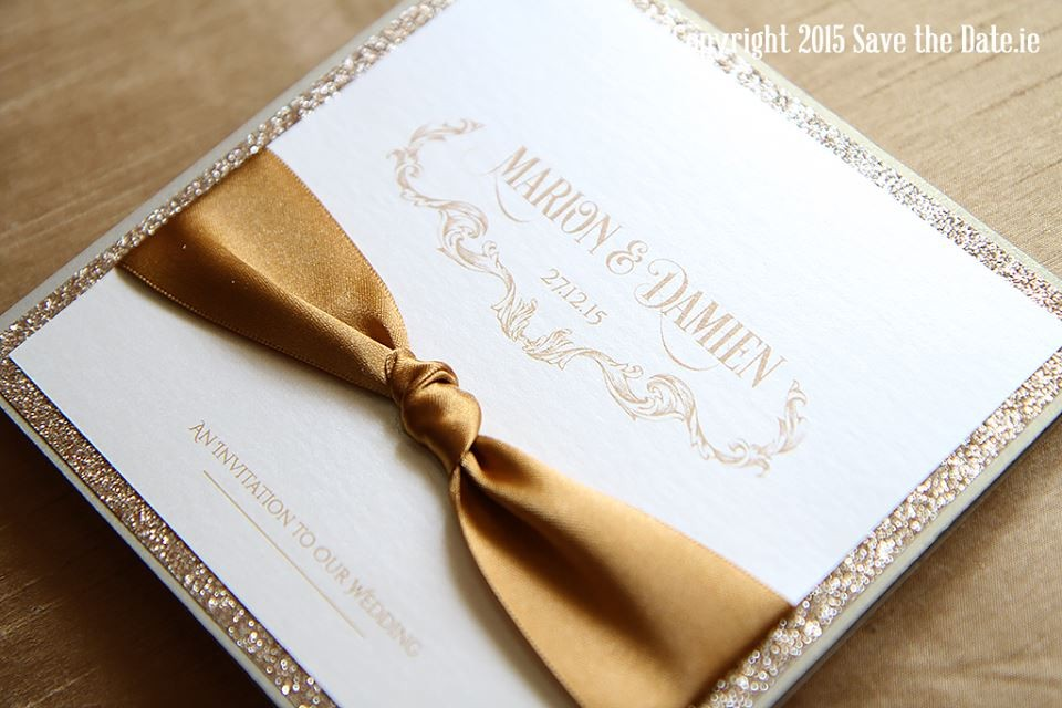 Wedding Invitations - Mass Booklets - Calligraphers - Table Plan Designs | Save the Date.ie - Your Wedding Stationery Specialists - Glitter Gold Wedding Invitation