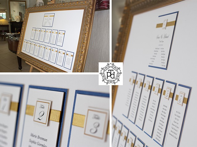 Gold & Navy Wedding Table Plan @ Castle Dargan Hotel