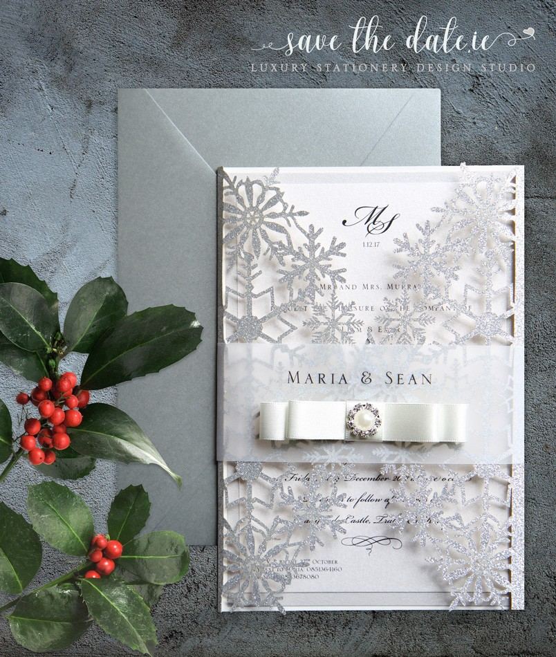 Laser cut glitter invitation -Wedding Invitations - Mass Booklets - Calligraphers - Table Plan Designs | Save the Date.ie - Your Wedding Stationery Specialists