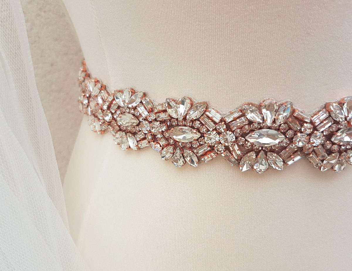 Rose gold bridal belt, rhinestone belt, rose gold sash, bridal belt, wedding belt, bridal sash, crystal belt, wedding dress belt, MARILYN