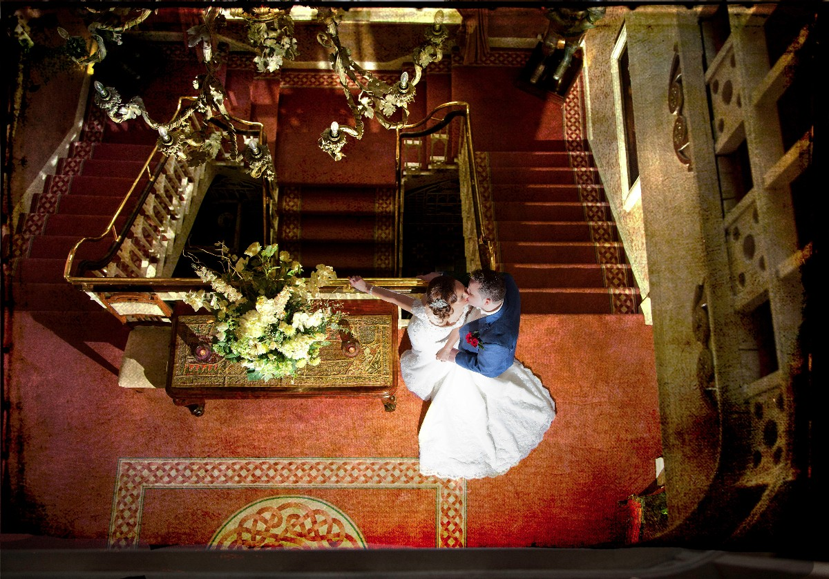 cabra castle, staircase, bride and groom, kiss - Janet meehan Photography