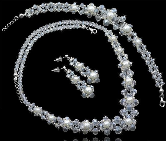 MELISSA Miyuki Glass Pearl and Crystal Bracelet Necklace and Earring Wedding Set