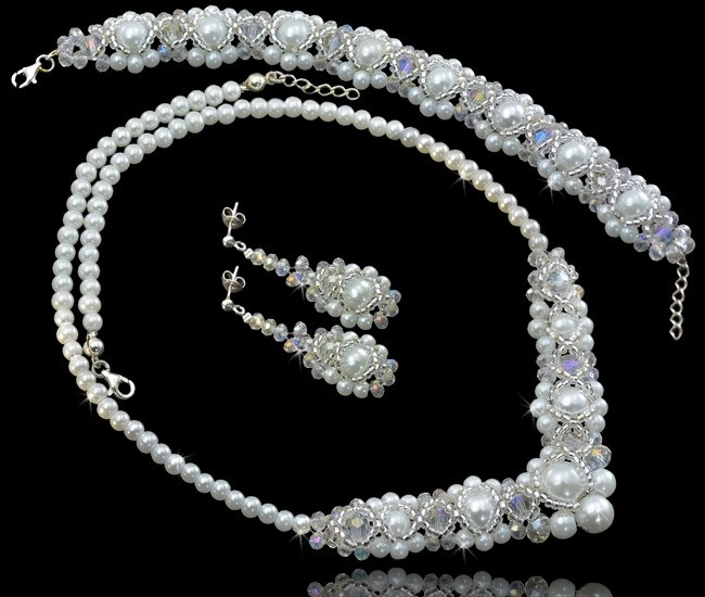 MORENA Miyuki Glass Pearl and Crystal Bracelet Necklace and Earring Wedding Set