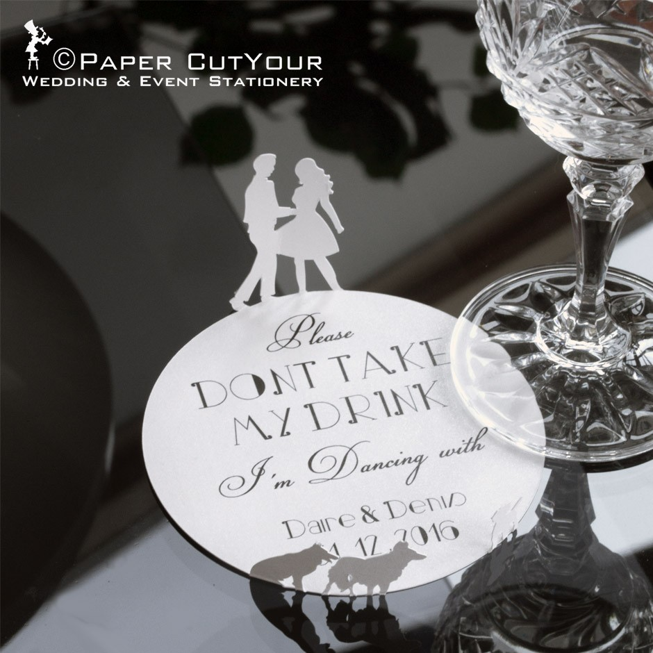 Paper CutYour laser cut drinks coasters, please don't take my drink I'm dancing, 3D laser cut wedding, laser cut couple dancing, laser cut dogs
