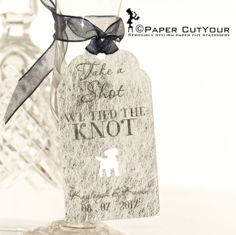 Paper CutYour laser cut wedding favour tags, shot bottle tags, cute laser cut shot bottle tags with dog