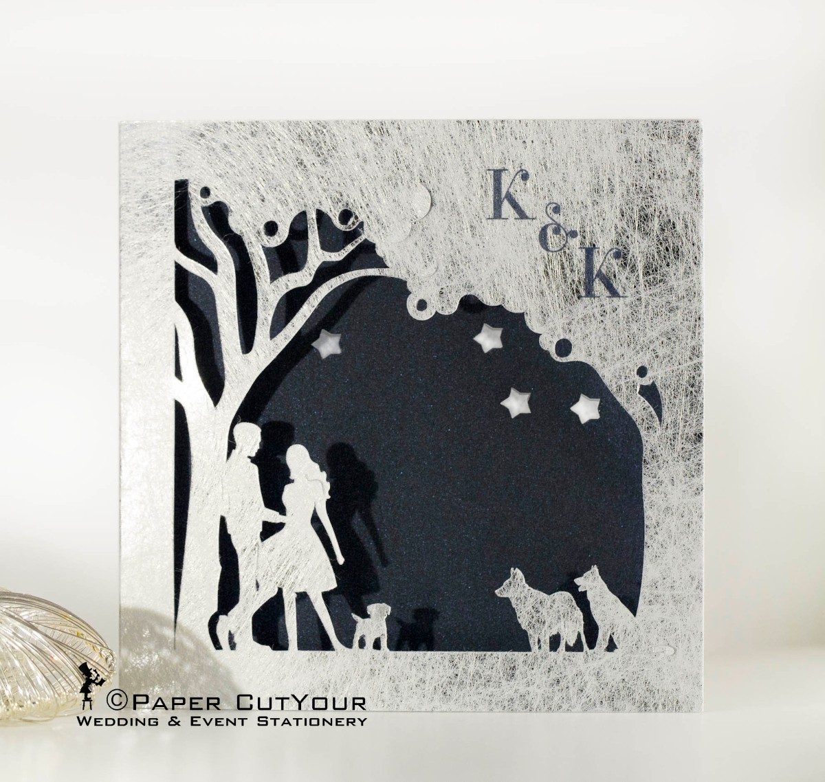 Paper CutYour laser cut wedding invitation, laser cut dogs and couple, twist silver, customised wedding invitations