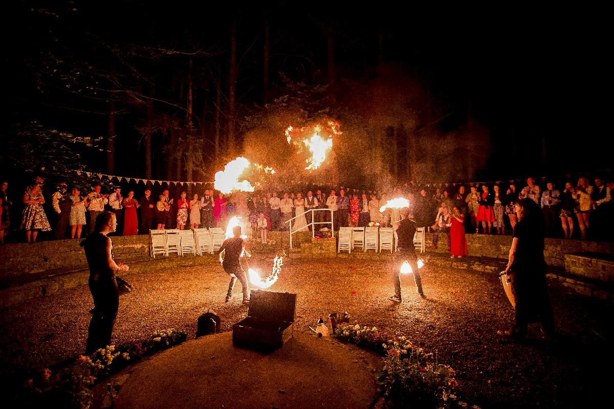 Quirky Wedding with Fire Breathers set deep in the trees