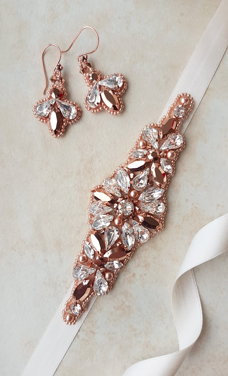 Rose gold belt, wedding dress belt, Swarovski earrings, Swarovski belt, rose gold sash belt, rose gold dress belt, Rose gold, rose gold Swarovski, rose gold bridal belt, bridal set, handmade sash, Tina