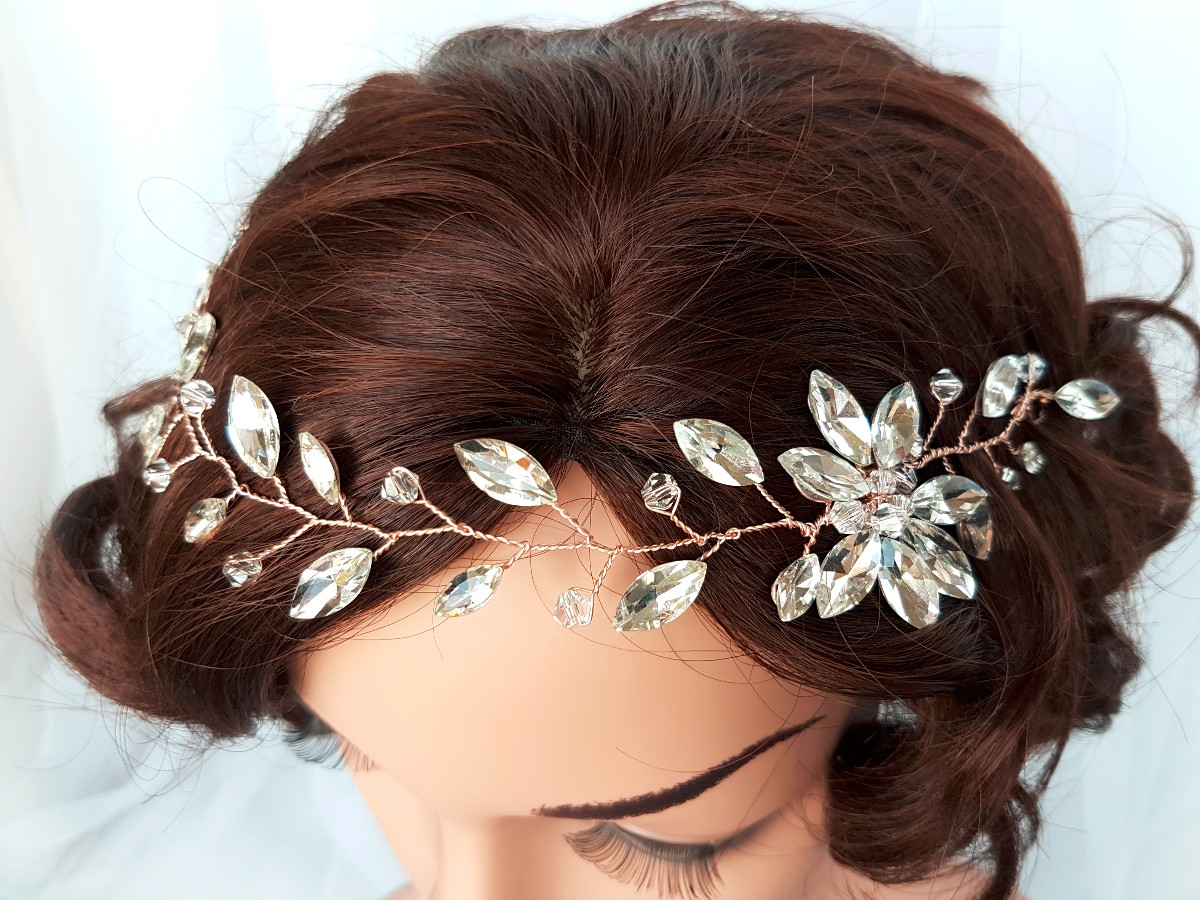 Rose gold headpiece, hair vine, rose gold hair accessories, handmade bridal, Diana