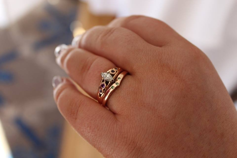rose gold wedding band and engagement ring