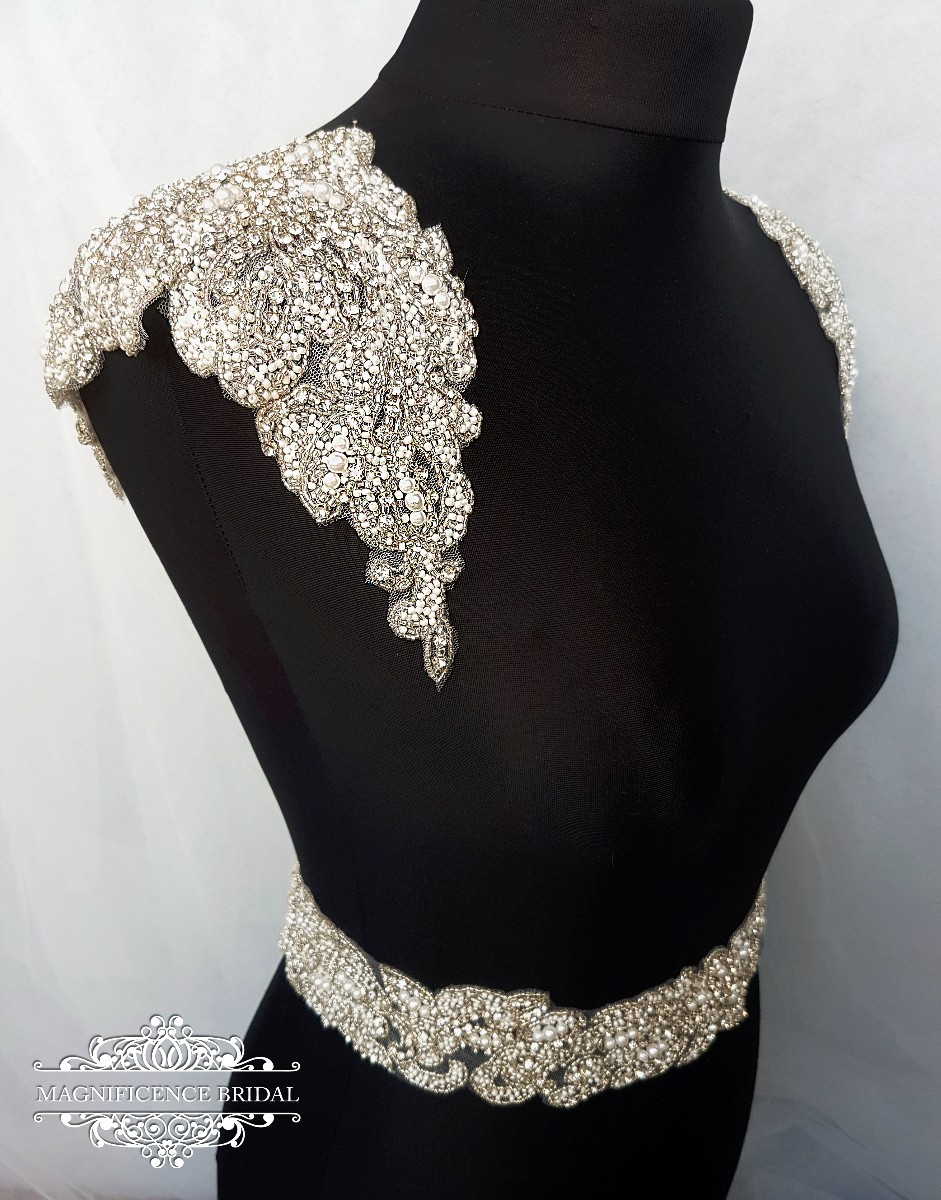 Shoulder patches, Luxury applique, Shoulder Applique, Bridal Epaulettes, bridal applique, dress embellishment, beaded applique, Bridal belt, Karen-sh,