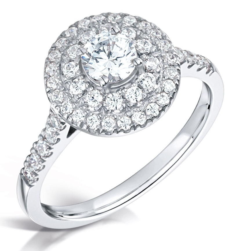 Stunning Halo cluster engagement ring