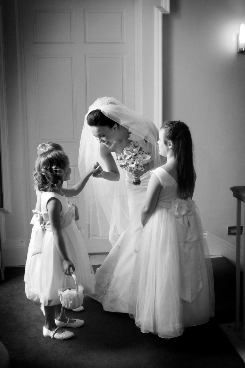 Bride with Bridesmaids, Carton House real wedding, documentary style, natural, reportage, candid, black and white,