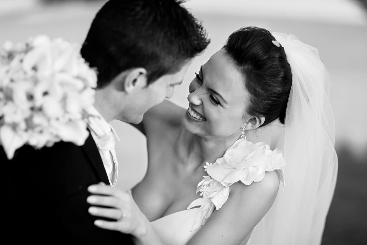 relationship, bride and groom laughting together, Carton House real wedding, documentary style, natural, reportage, candid, black and white,