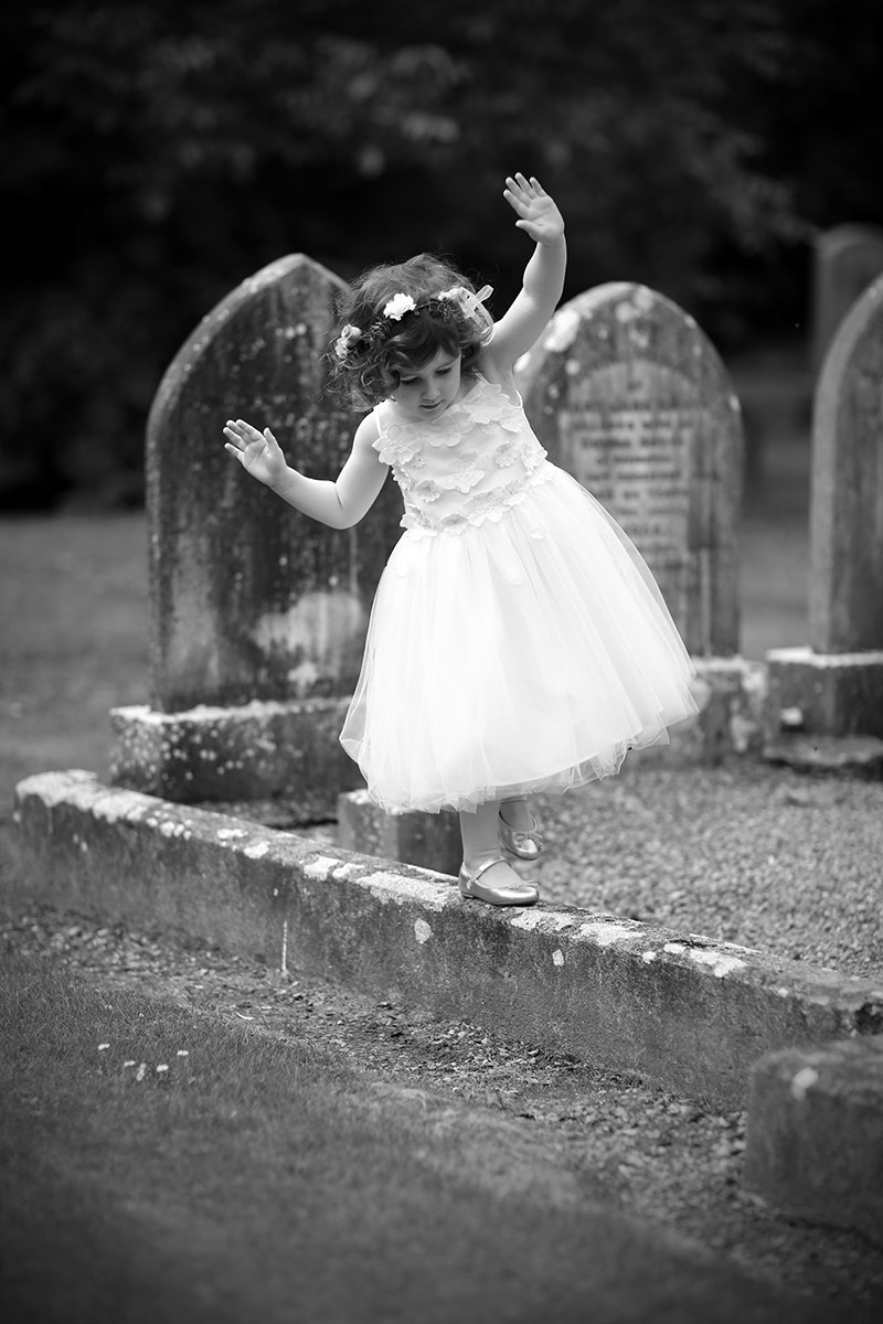 flowergirl captured, vintage flowergirl, flowergirl dress and hair, documentary style, natural, reportage, candid, black and white,