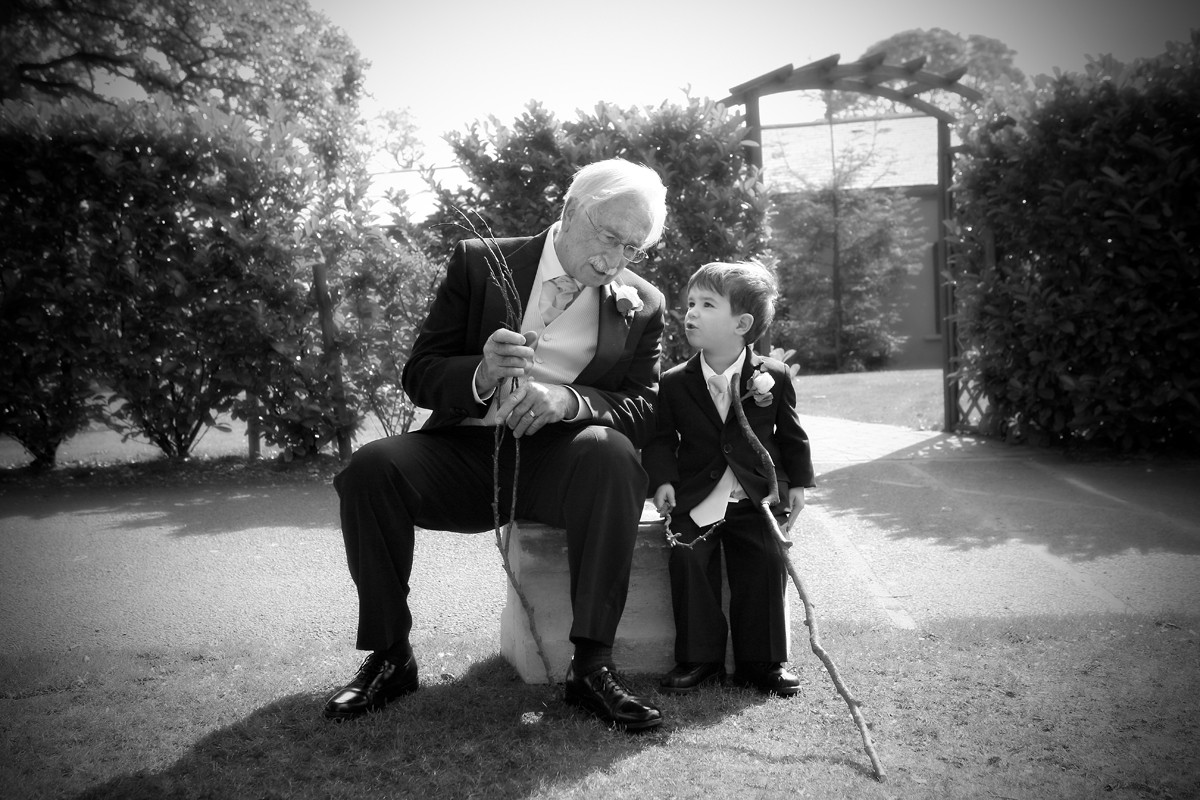grandad with grandson, wedding, documentary style, lovely moment, Barberstown Castle, real wedding