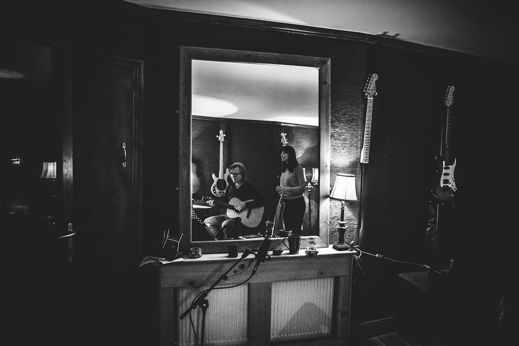 Rehearsing in the studio with Dave Molloy