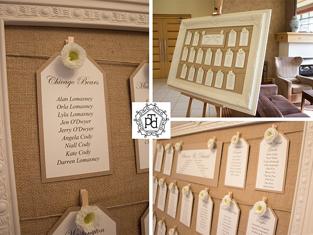 Vintage Flower Wedding Table Plan Theme