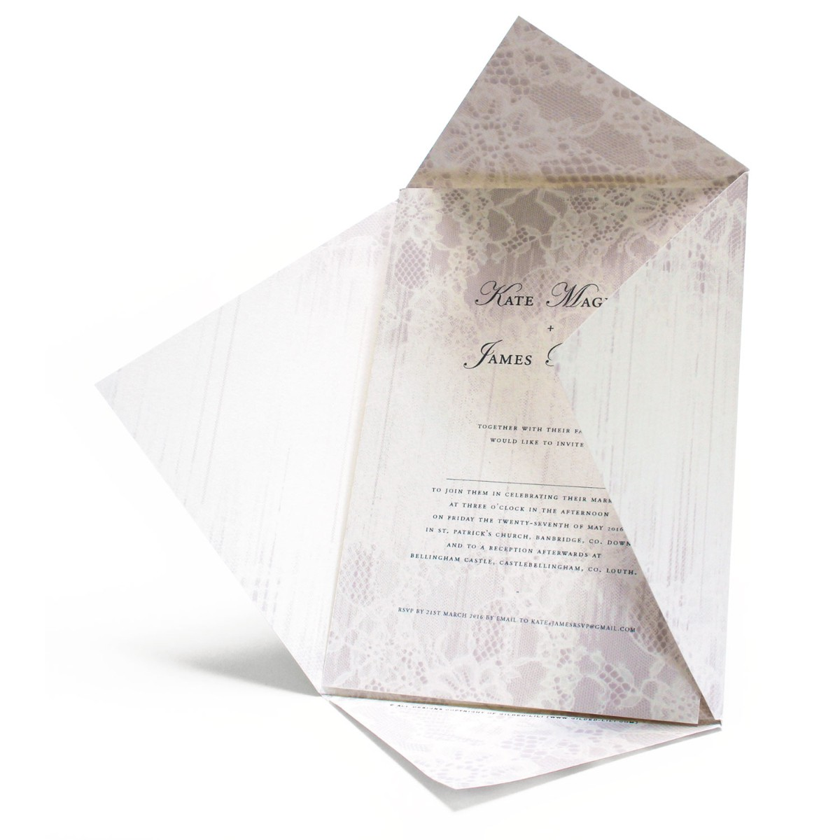 Wedding Invitation - Faded Lace by Gilded-lili