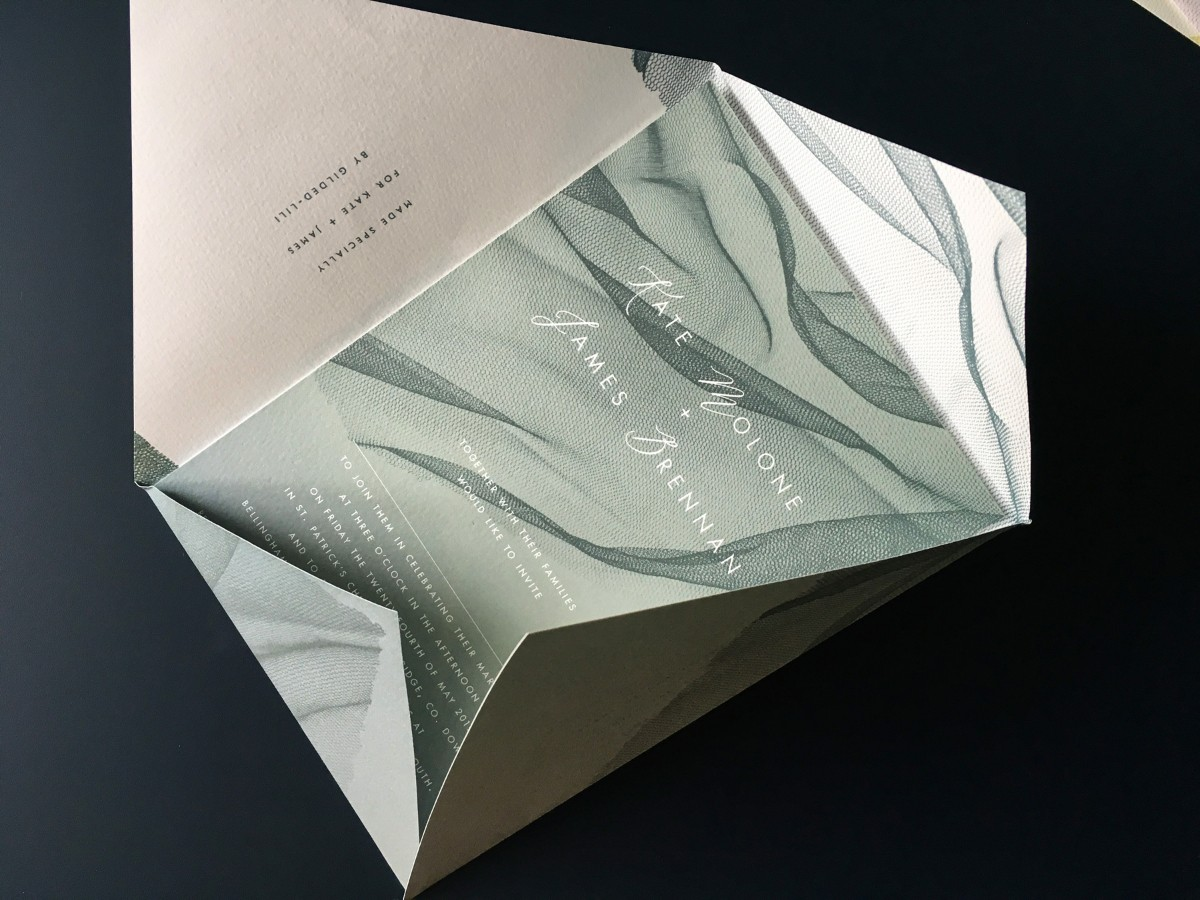 wedding invitations, floating tulle, ethereal