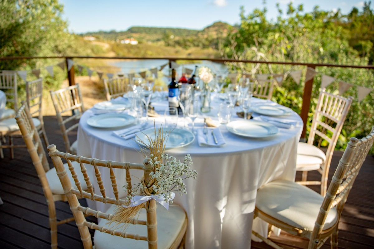wedding table with riverside view