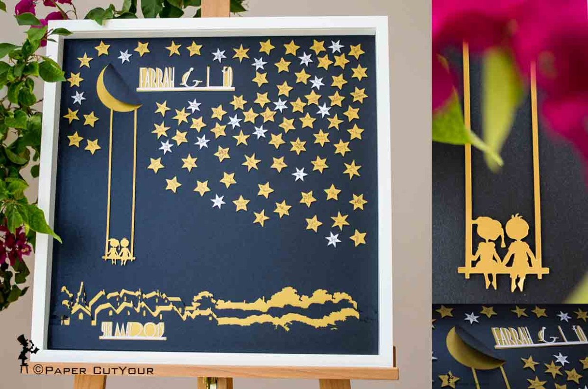 Paper CutYour,  Wedding Guestbook Alternative, laser cut Wish upon A Star Guest Signing Framed Artwork