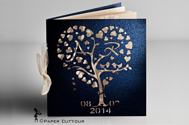 Paper CutYour LASER CUT WEDDING INVITATION Tree of Hearts IN PEARLESCENT NAVY AND GOLD