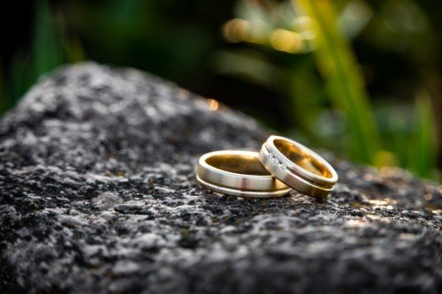 18k Yellow Gold Wedding Rings with Designed Finish