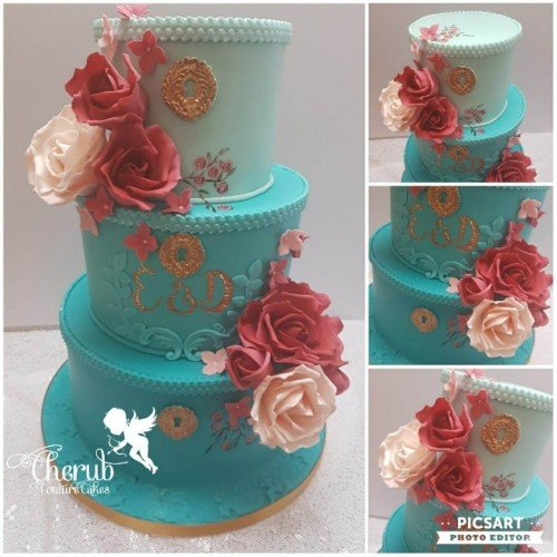 Handpainted Teal Ombre with Blush and Marsala