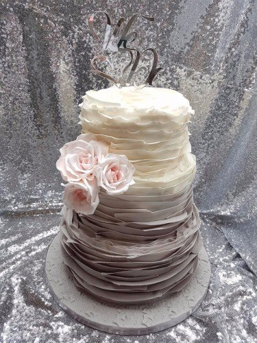 Ombre grey ruffle with blush roses