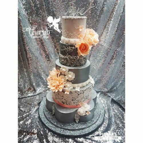 Gorgeous Grey and Pearl with Lace and Peach Flowers
