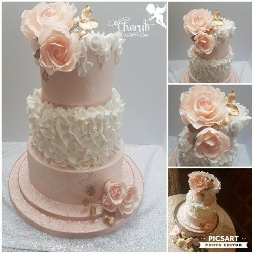 Blush Ruffles, gold and large roses