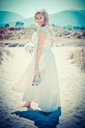 Bride on castlegregory beach. Kerry Wedding Photography | Tara Donoghue Photography
