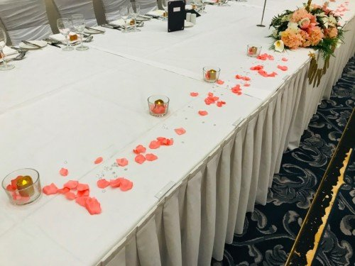 Full reception decor set up, top table