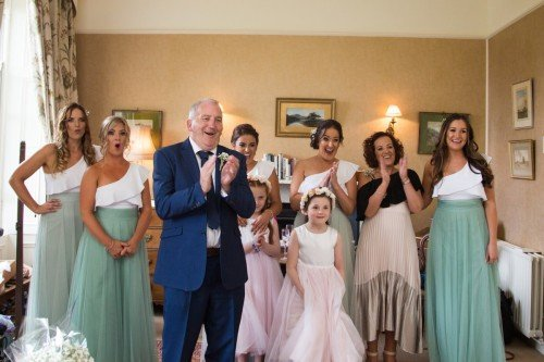 Bridal party reaction to seeing bride, Tara Donoghue Photography