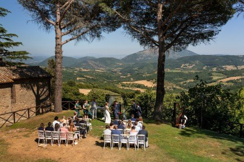 the symbolic ceremony in the garden of a country house in Italy