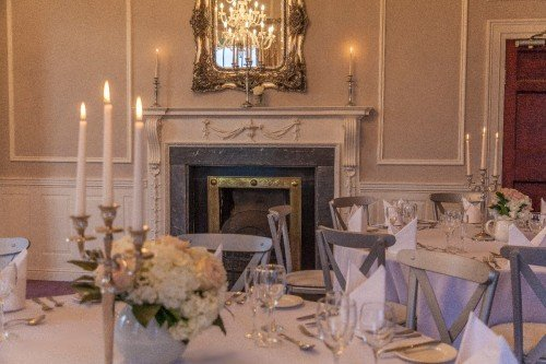 Manor Rooms Wedding Reception Dinner (fireplace) at Leixlip Manor House