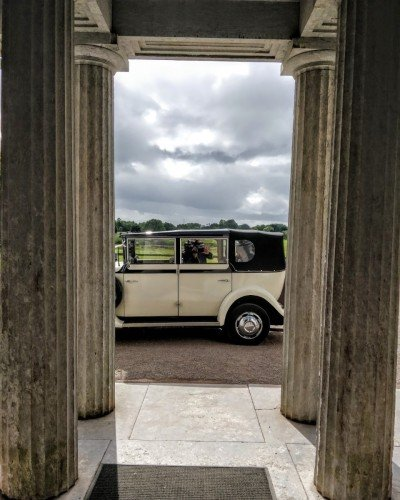 A vintage car can add to the magic of your civil wedding here