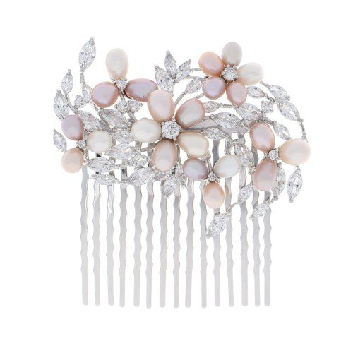 ADELE Rose & Cream Natural Pearl Crystal Bridal Hair Comb