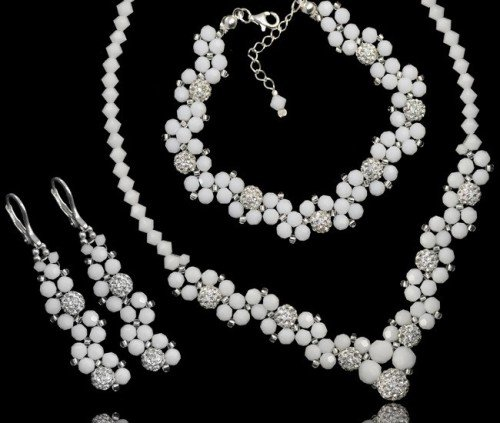 ALANNA White Alabaster Swarovski Crystal Necklace Bracelet Earring Wedding Set