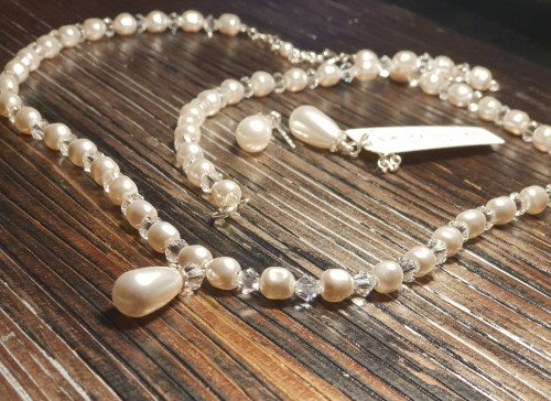 ALICE Swarovski Tear Drop Ecru Pearl and Crystal Set