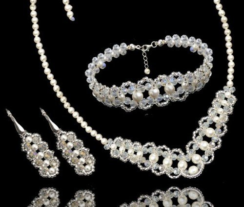 ALISHA Swarovski Pearl Crystal Necklace Bracelet and Earring Wedding Set