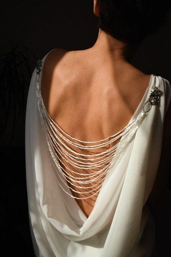 APHRODITE Cascade Style Backdrop Necklace with Crystals and Miyuki Silk Beads