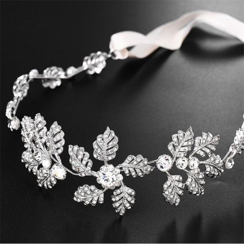 ASTER Crystal Silver Floral Headband - Hair Vine