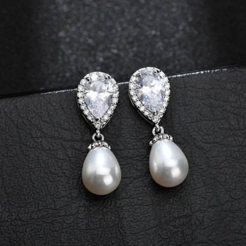 ASU Teardrop Pearl Crystal Silver Pierced Earrings