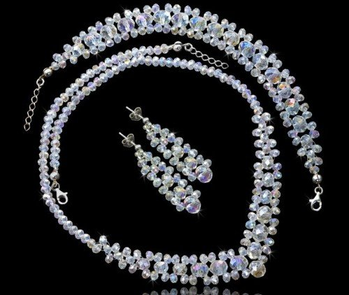 AURORE Swarovski Crystal Necklace Bracelet and Earring Wedding Set