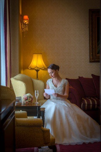 Bride in Library at Glenlo Abbey Hotel Galway